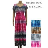 48 Units of Womens Fashion Summer Dress In Long Boat Neck Assorted COlor And Size