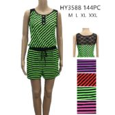 48 Units of Womens Fashion Summer Striped Romper With Tied Waste