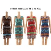 48 Units of Womens Fashion Short Summer Dress With Gathered Waste Assorted Color And Size