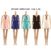 60 Units of Womens Fashion Summer Romper With Tied Neck And gathered Waist Assorted Color And Size