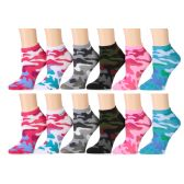 120 Units of Camouflage Womens Cotton Blend Ankle Socks