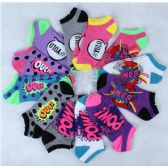 120 Units of Assorted Pritns Womens Cotton Blend Ankle Socks - Womens Ankle Sock