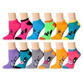 120 Units of Assorted Pritns Womens Cotton Blend Ankle Socks