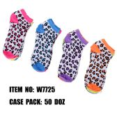 120 Units of Assorted Prints Womens Cotton Blend Ankle Socks Leopard Print