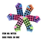 120 Units of Assorted Prints Womens Cotton Blend Ankle Socks Hounds Tooth