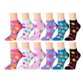 120 Units of Assorted Prints Womens Cotton Blend Ankle Socks Peace Polka Dots
