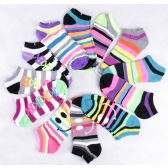 120 Units of Assorted Prints Womens Cotton Blend Ankle Socks - Womens Ankle Sock