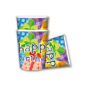 96 Units of 9oz/8 count B'day paper cup