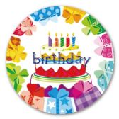 "96 Units of 9""/8 count paper plate B'day"
