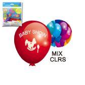 96 Units of Twelve Inch Ten Count Baby Shower Balloon - Baby Shower