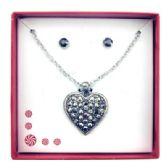 36 Units of Gun metal finish heart and earring gift box - Jewelry Box