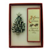 "36 Units of Christmas tree pin with a book of the ""legend of the Christmas tree"" with a gift box"