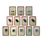 36 Units of Pin and dangle multi-earring red gift box sets