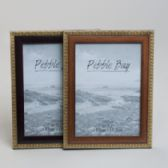 240 Units of Photo Frame 5x7 2ast Woodlook W/gold Trim Plastic In 12pc Pdq Shrink/label