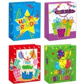 144 Units of Birthday Gift Bag Glitter Large - Gift Bags