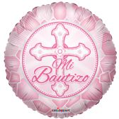 "125 Units of 2-side ""mi bautizo"" pink Balloon"