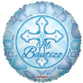 "125 Units of 2-side ""mi bautizo"" blue Balloon"