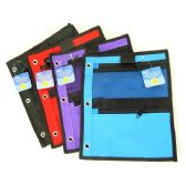 72 Units of 3-Ring Pencil Pouch With Mesh Pocket - Pencil Boxes & Pouches