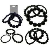 36 Units of Multiple black stretch bracelet set - Bracelets