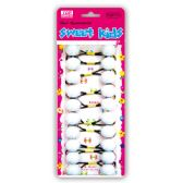 96 Units of Hair bead/White Black - PonyTail Holders