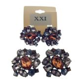 36 Units of Faceted Stone accented clip on earrings