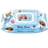72 Units of 80 Count baby wipes with lid blue