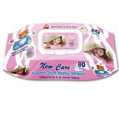 72 Units of 80 Count baby wipes With lid pink