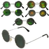 72 Units of Assorted Round Metal Frame Hologram Sunglasses
