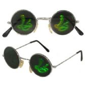 72 Units of Round Metal Frame King Cobra Snake Hologram Sunglasses