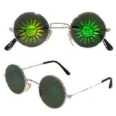 72 Units of Round Metal Frame Sunburst Face Hologram Sunglasses