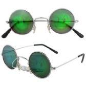 72 Units of Round Metal Frame Evil Smiley Face Hologram Sunglasses