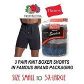48 Units of MEN'S 3PK KNIT BOXER SHORTS / FAMOUS BRAND PK