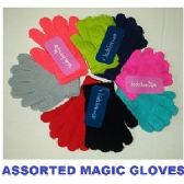 144 Units of 2 PAIR KNIT MAGIC GLOVES ASSORTED COLORS - Magic Acrylic Gloves