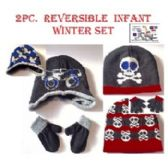 48 Units of INFANT 2PC. SET HAT & GLOVE WITH FRONT DESIGN / REVERSIBLE