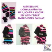 24 Units of WINTER 3 PC DOUBLE KNITTED HAT, SCARF & GLOVE SET