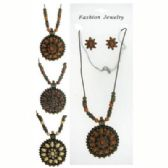 72 Units of Necklace and earrings set with a few filigree designed beads and a filigree designed charm