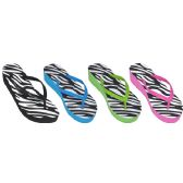 36 Units of Ladies Zebra Print Flip Flops