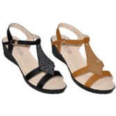 36 Units of Ladies Wedge Sandal With Rhinestones - Women's Sandals
