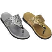 36 Units of Ladies Metallic Flip Flop Sandals