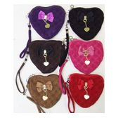 144 Units of Velvet Heart Shaped Purse - Leather Purses and Handbags