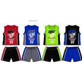 48 Units of SPRING BOYS JERSEY TOP WITH CLOSE MESH SHORT SETS SIZE NEWBORN - Newborn Boys Apparel