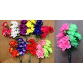 48 Units of 8 Head Rose Plastic Flower - Artificial Flowers