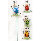 48 Units of Wholesale Garden Stake Decoration 3D Ladybug