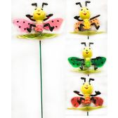 48 Units of Garden Stake Decoration 3D Colorful Bees Assorted