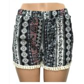 12 Units of Wholesale Assorted Vertical Band Print Shorts with Crochet Bottom