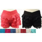 12 Units of Wholesale Solid Color Layered Crochet Shorts Assorted Colors - Womens Shorts