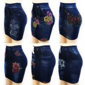 12 Units of Wholesale Faux Denim Stretchable Skirt with Assort Print and Size