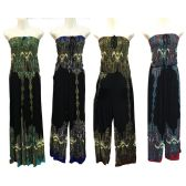 12 Units of Wholesale Long Black Romper with Stretchable Chest Tie - Womens Romper / Outfit Sets