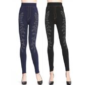 12 Units of Wholesale Denim Print Rhinestone Legging Assorted Color One Size