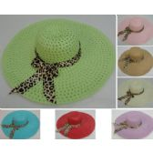 36 Units of Ladies Woven Summer Hat w Leopard Print Bow